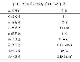 93%浓硫酸介质的工况条件