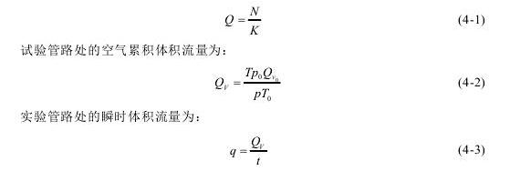 试验管路处的空气累积体积流量为: 实验管路处的瞬时体积流量为: