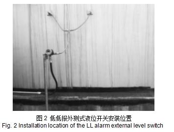 图2 低低报外测式液位开关安装位置