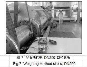 图 7称重法标定 DN250 口径现场
