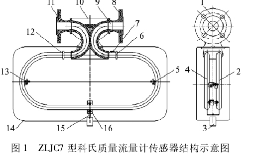 图 1 ZLJC7 型科氏质量流量计传感器结构示意图