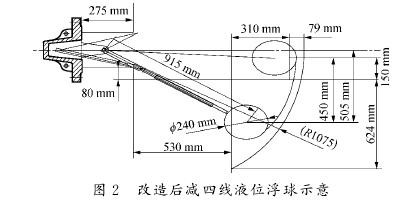 图2 改造后减四线液位浮球示意