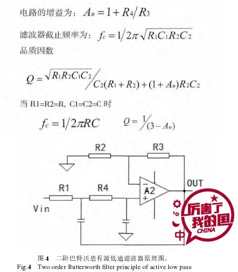 图 4  二阶巴特沃思有源低通滤波器原理图。