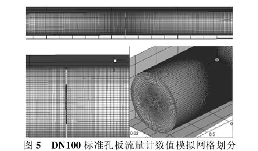 图 5   DN100 标准孔板流量计数值模拟网格划分