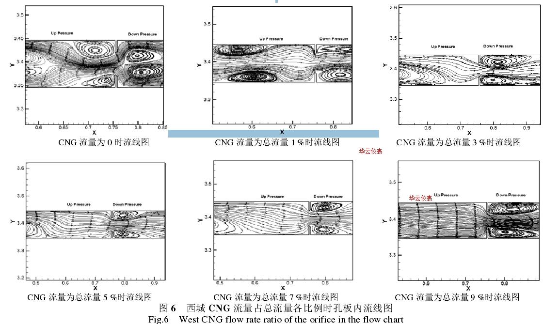 图 6   西城 CNG 流量占总流量各比例时孔板内流线图