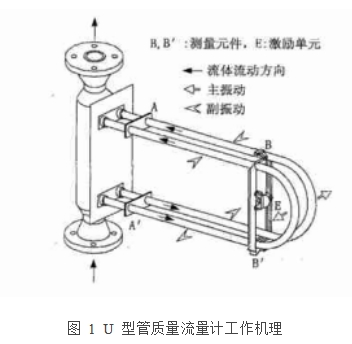 图 1  U 型管质量流量计工作机理