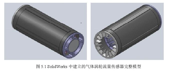图5.1 SolidWorks中建立的气体涡轮流量传感器完整模型