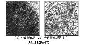 (a)小倾角流场 (b)大倾角流场图 3 主动轮上的流场分布