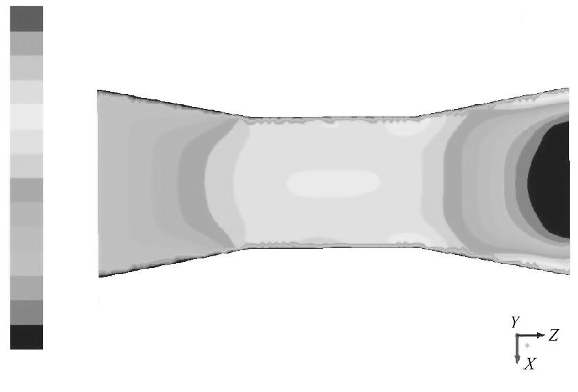 图2 入口速度为0.1m/s的速度云图Figure 2 Contour of 0.1m/s inlet velocity