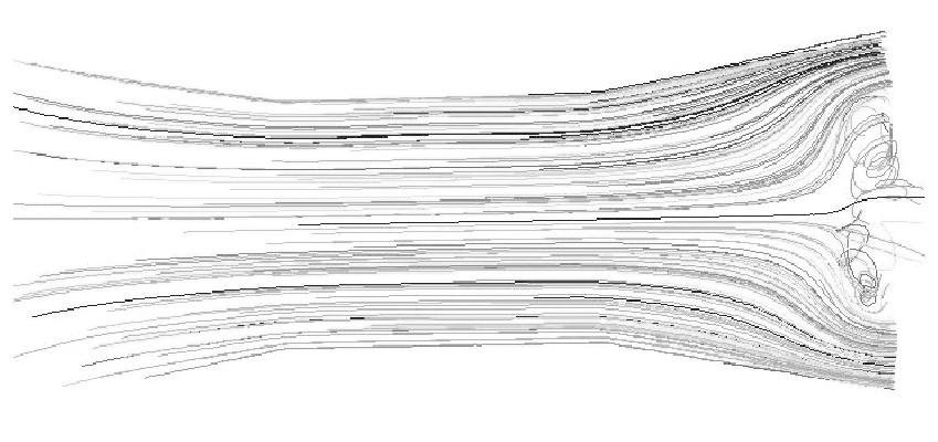 图4 入口速度为0.1m/s的轨迹图Figure 4 Pathlines of 0.1m/s inlet velocity