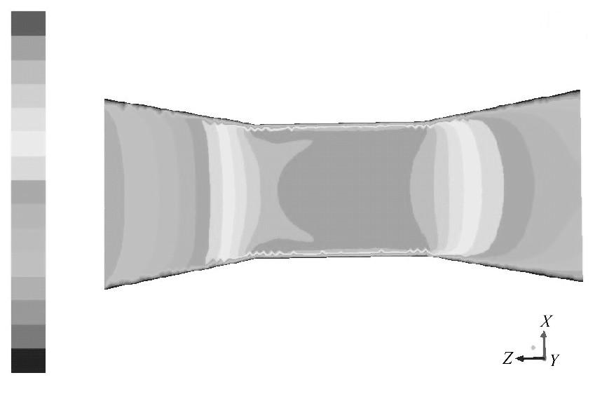 图1 0 入口速度为5.0m/s的速度云图Figure 10 Conntour of 0.3m/s inlet velocity