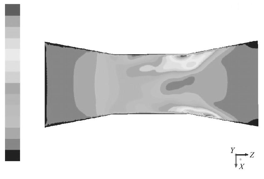 图1 2 入口速度为0.1m/s的速度云图Figure 12 Contour of 0.1m/s inlet velocity