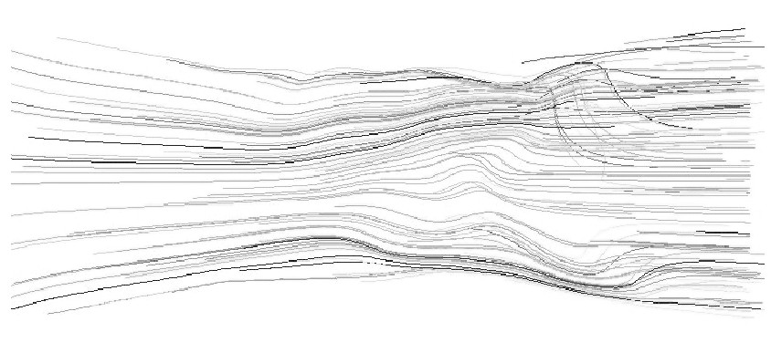 图1 3 入口速度为0.1m/s的轨迹图Figure 13 Pathlines of 0.1m/s inlet velocity