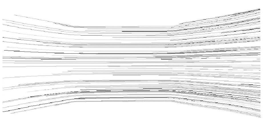 图1 5 入口速度为5.0m/s的轨迹图Figure 15 Pathlines of 5.0m/s inlet velocity