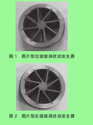 图 1 圆片型左漩漩涡扰动发生器图 2 圆片型右漩漩涡扰动发生器