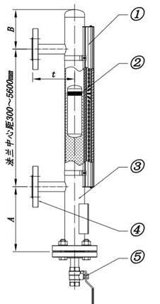 侧装磁翻板液位计结构图