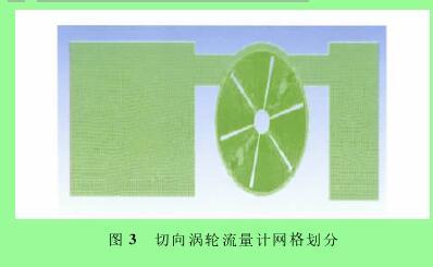 图3 切向涡轮流量计网格划分