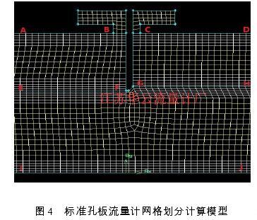 图 4   标准孔板流量计网格划分计算模型