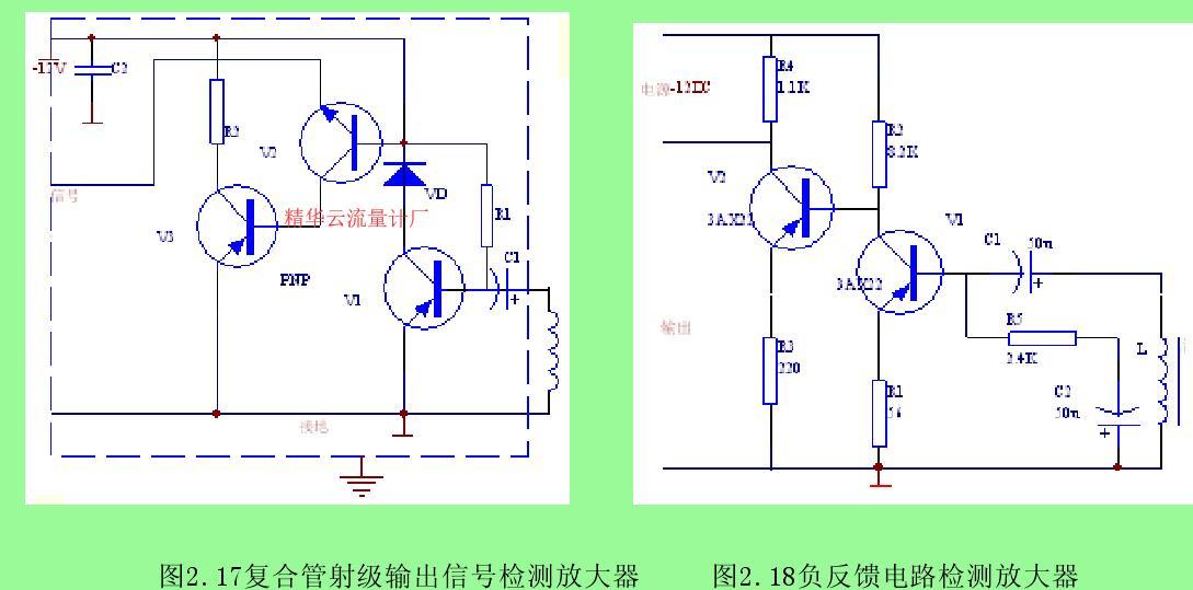 图2.17复合管射级输出信号检测放大器     图2.18负反馈电路检测放大器
