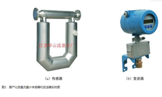 图2 国产化质量流量计传感器和变送器实物图