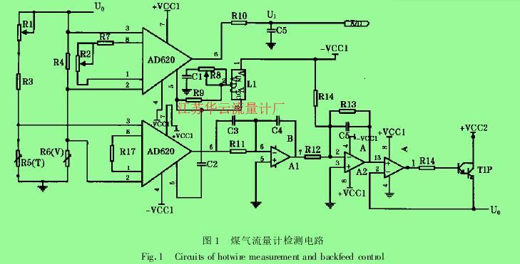 图 1  煤气流量计检测电路