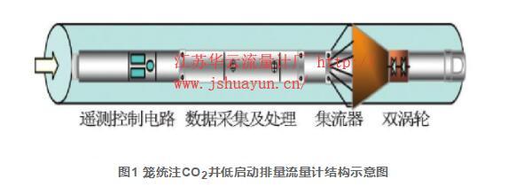 图1 笼统注CO2井低启动排量流量计结构示意图