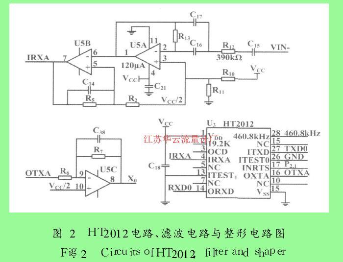 图 2 HT2012电路、滤波电路与整形电路图
