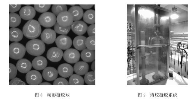 图8畸形凝胶球 图9溶胶凝胶系统