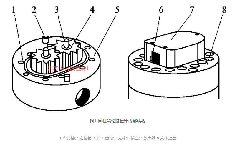 图1 圆柱齿轮流量计内部结构