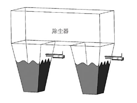 图3 2个灰斗各安装1台静电除尘器保护料位计示意图